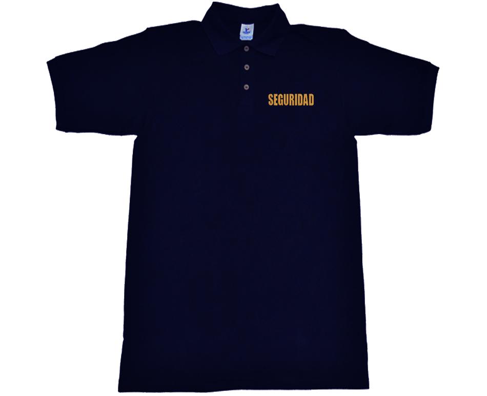 Playera azul marino tipo polo con SEGURIDAD bordado d83feba5e603a